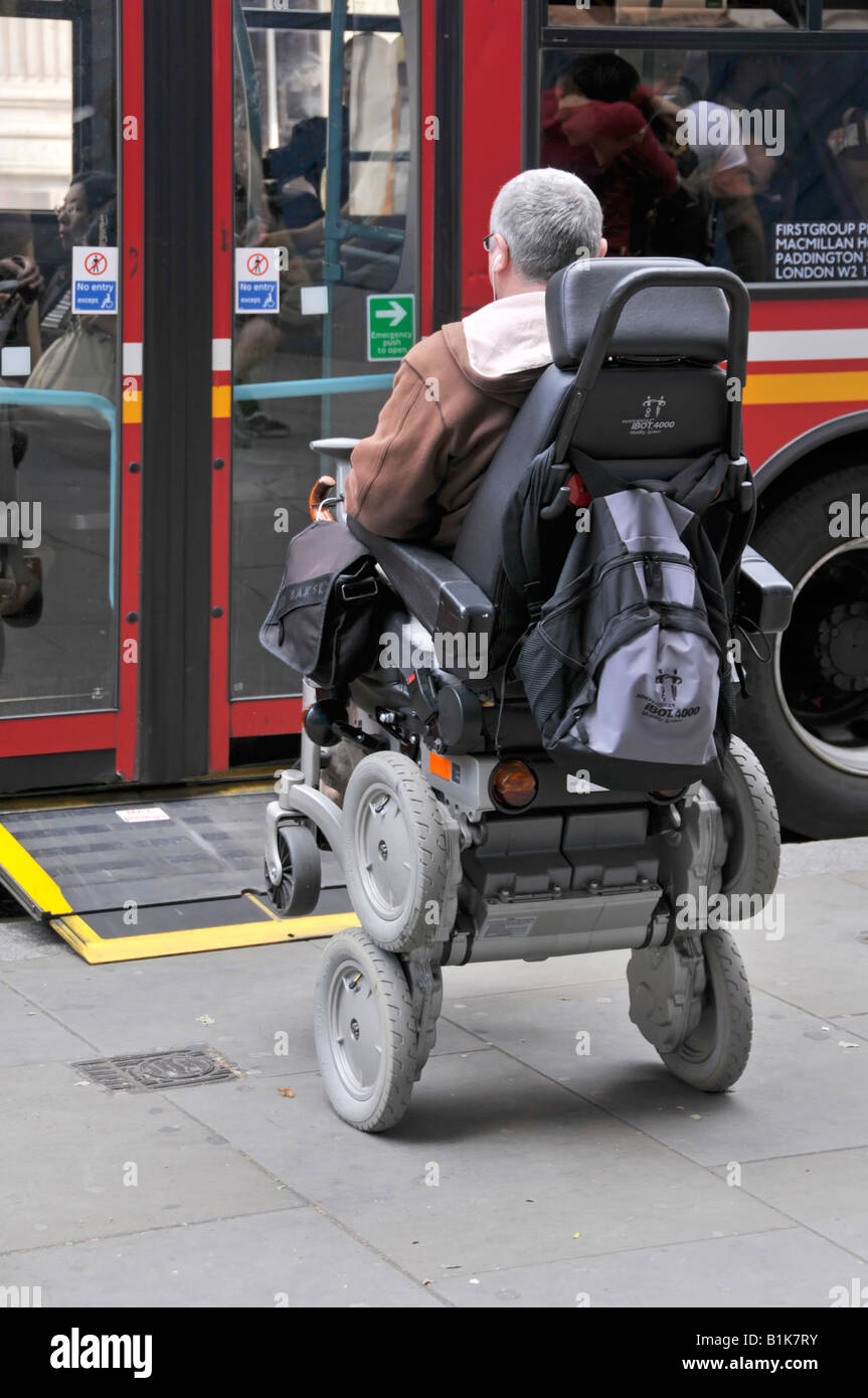 disabled person operating a gyroscope balanced ibot mobility system