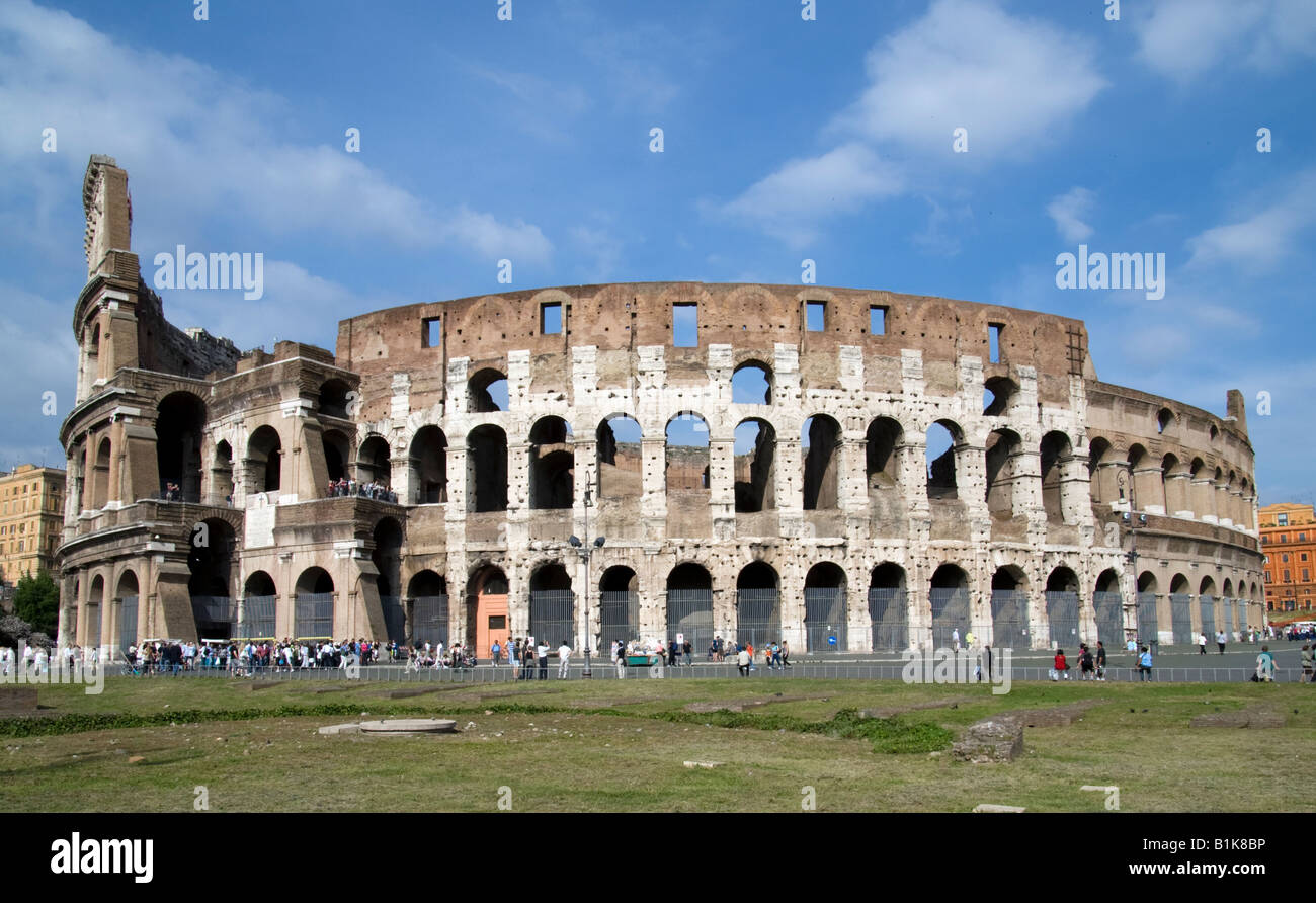 Ancient Rome: Colosseum Rome Italy Flavian Amphitheater was begun by Vespasian inaugurated by Titus in 80 A D Stock Photo