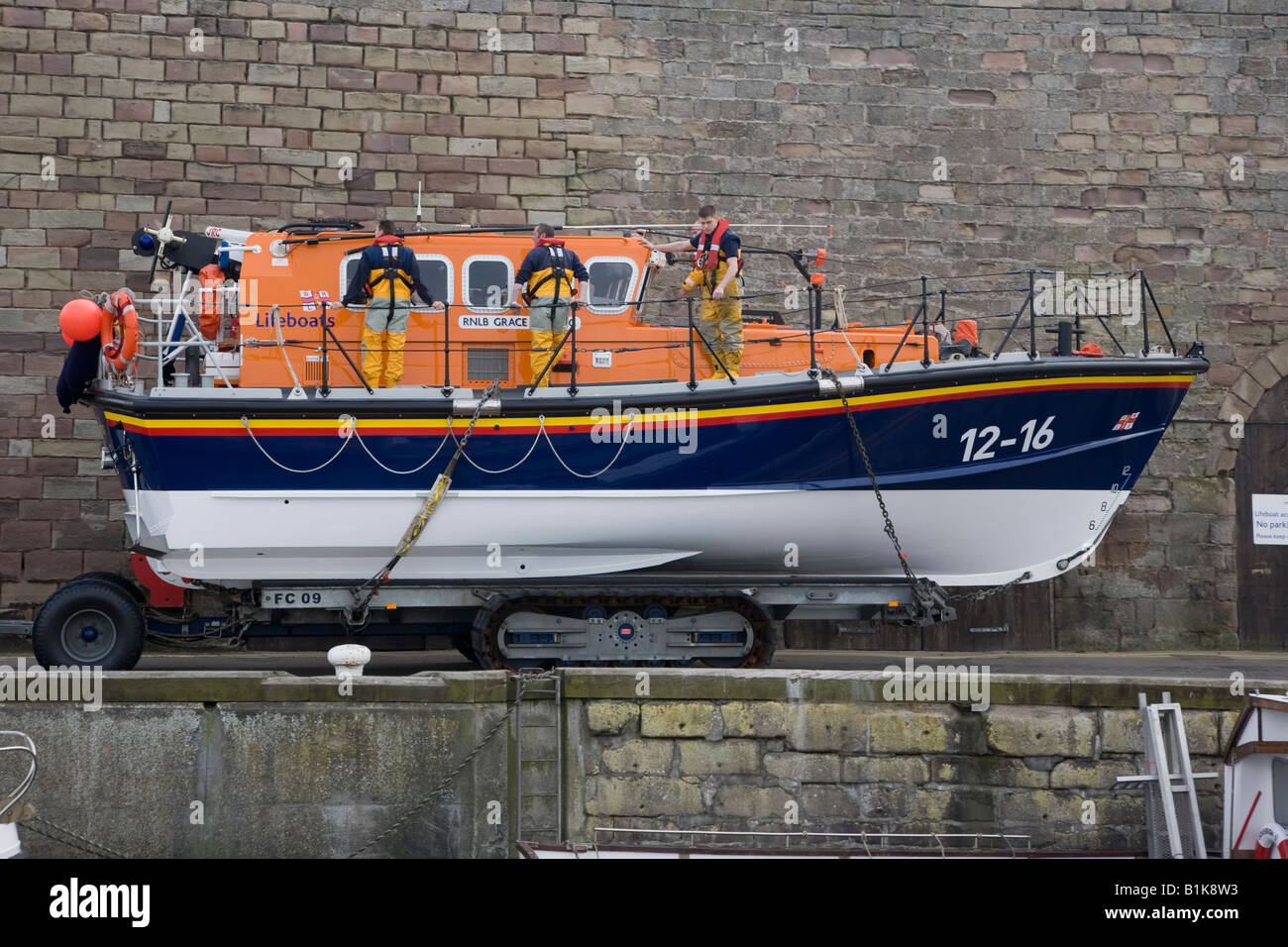 The Grace Darling lifeboat being launched Seahouses Northumbria - Stock Image