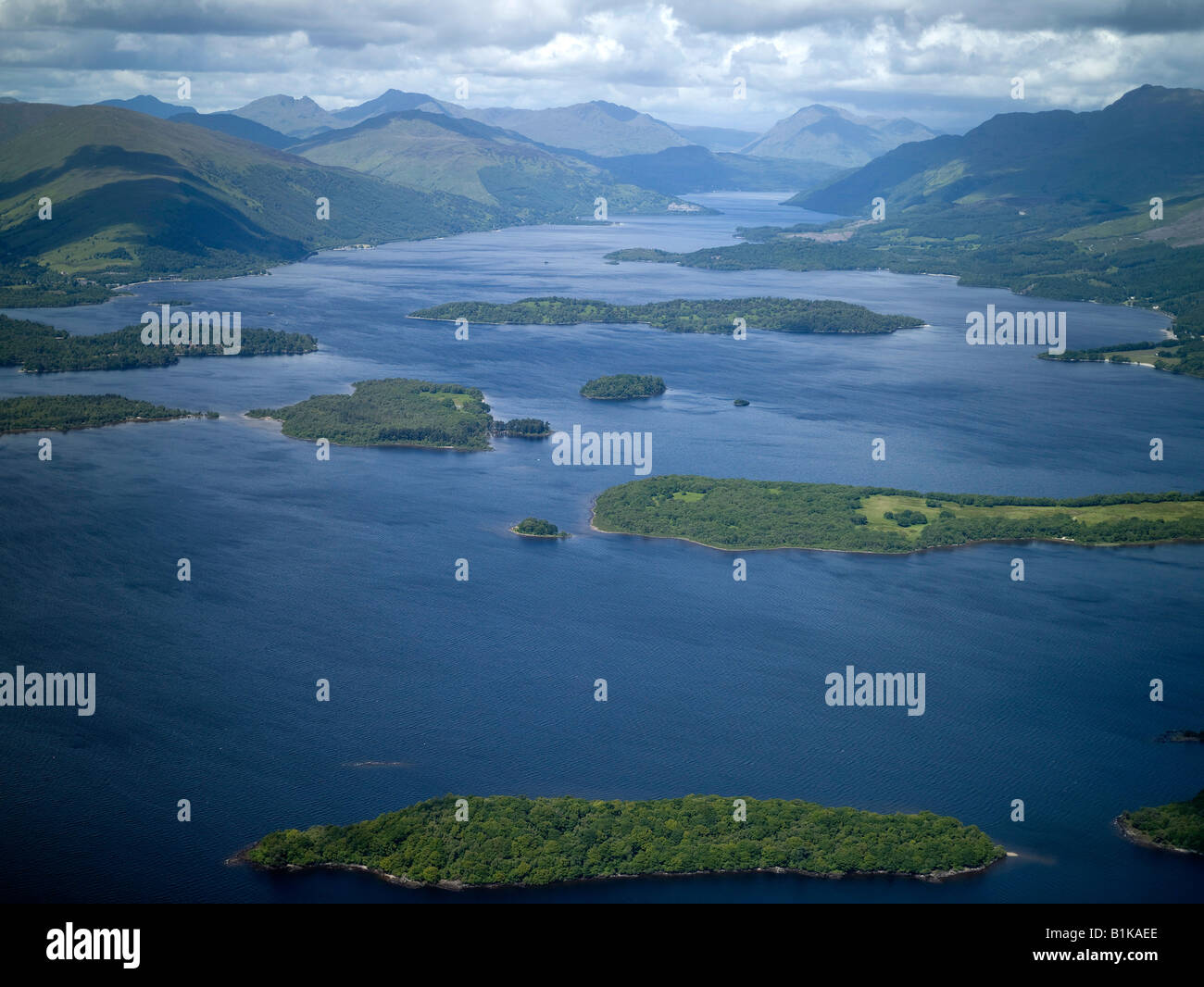 Loch Lomond & Islands from the air, Highland Scotland - Stock Image