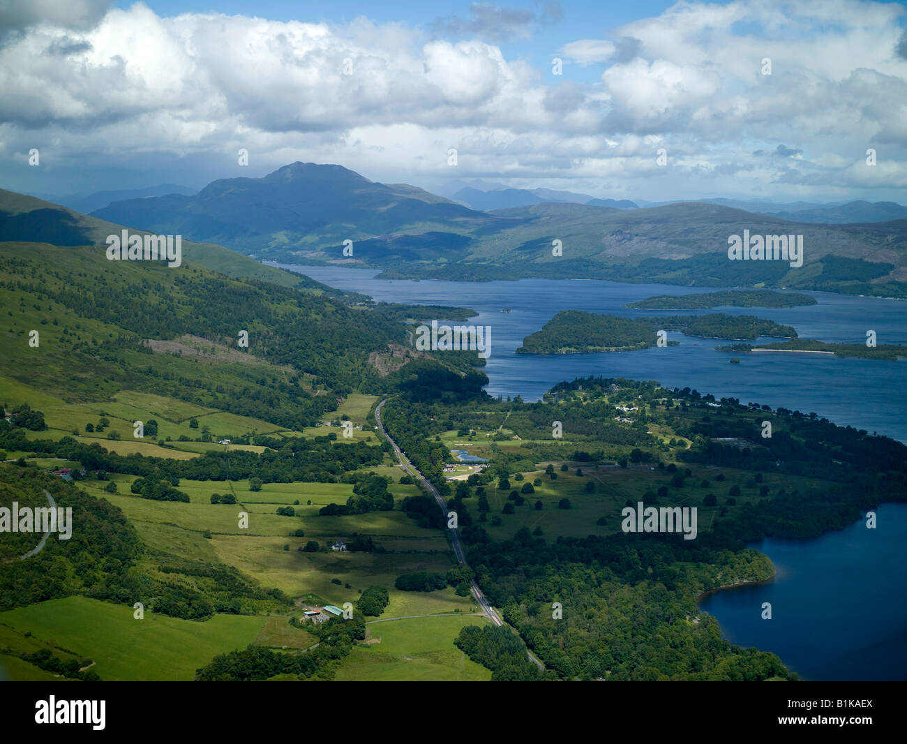 Loch Lomond & Ben Lomond from the air, Highland Scotland - Stock Image