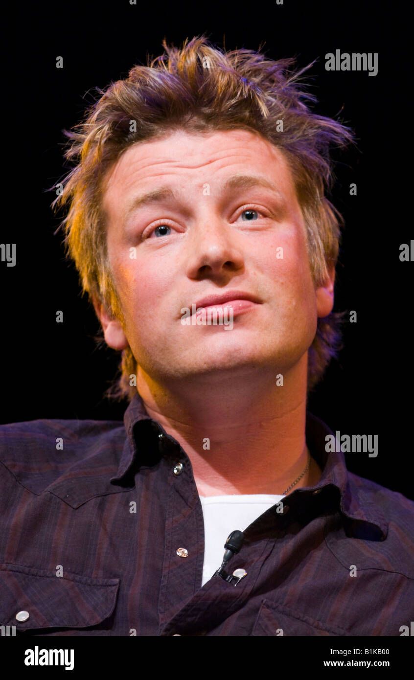 Jamie Oliver celebrity chef speaking about his life and career at Hay Festival 2008 Hay on Wye Powys Wales UK - Stock Image