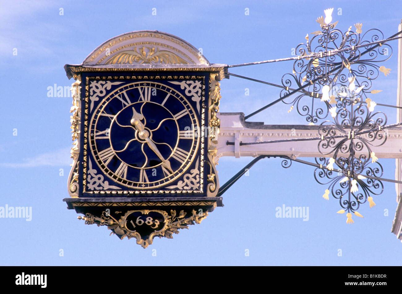 Guildford Town Hall Clock dated 1683 gilded public overhanging street bracket Surrey England UK - Stock Image