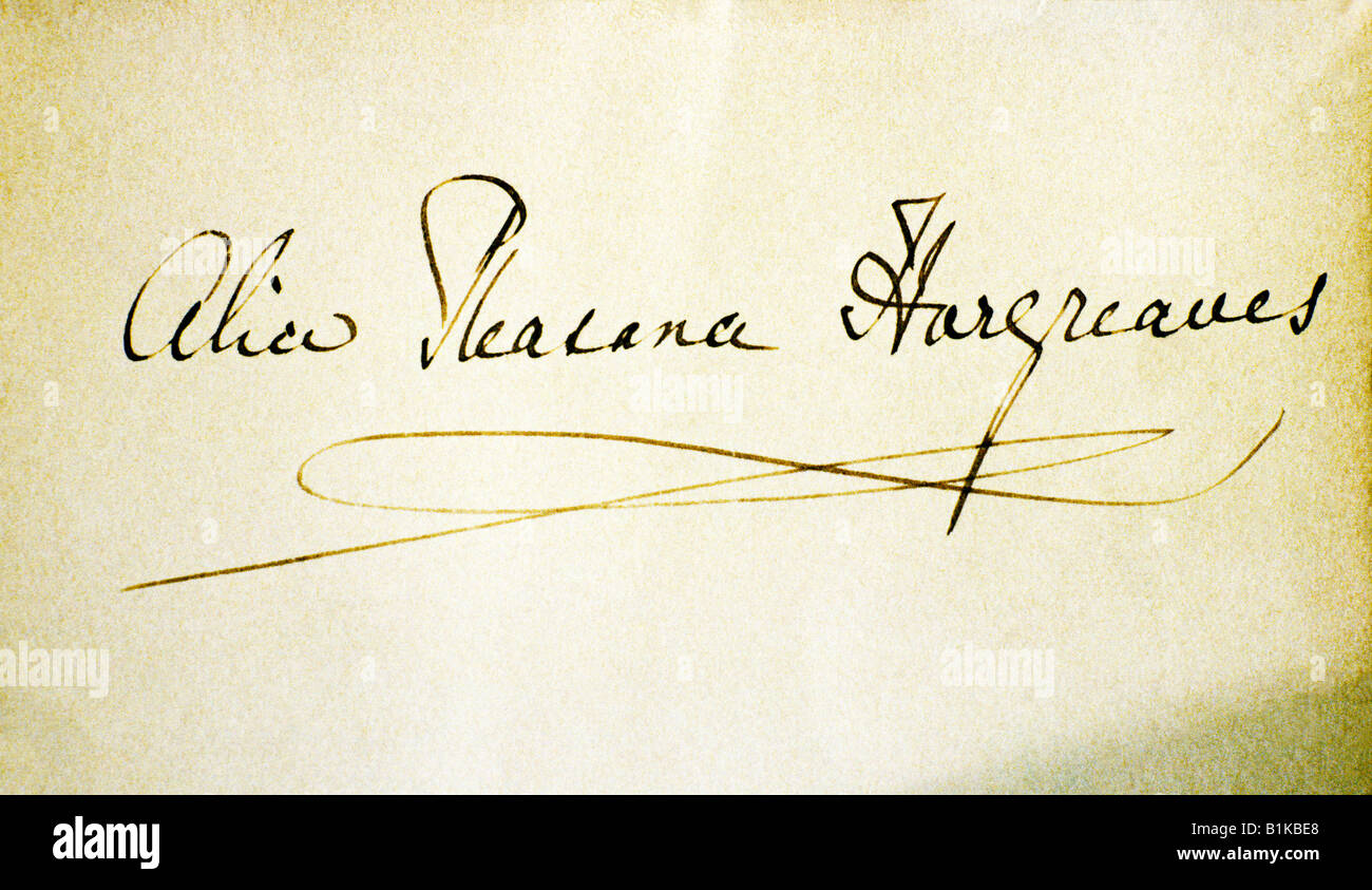 Guildford Alice Hargreaves signature Lewis Carroll author Alice in Wonderland Surrey England UK autograph - Stock Image