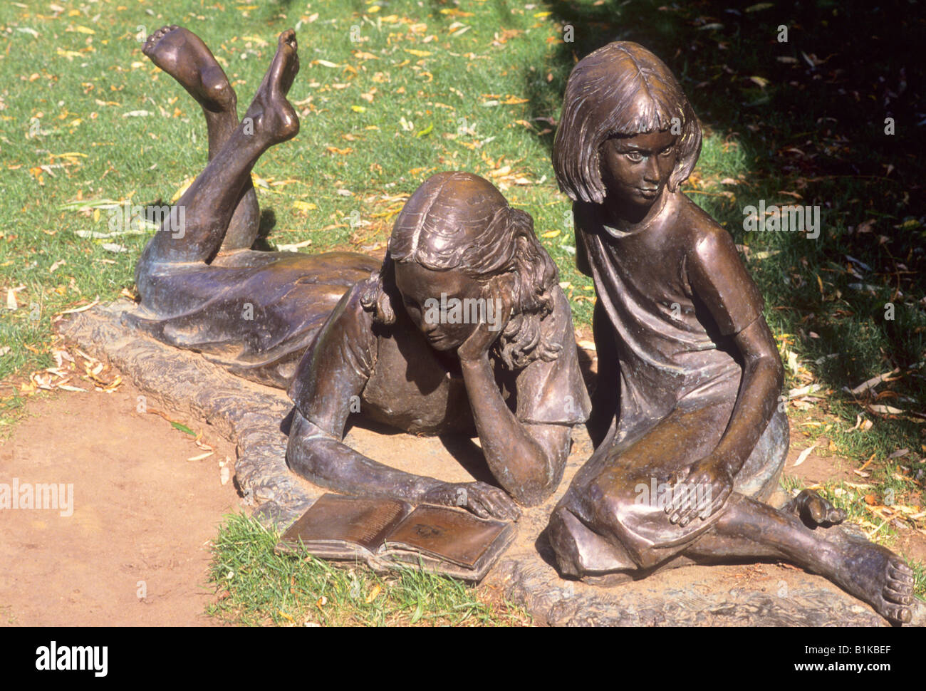 Guildford Alice in Wonderland and sister bronze figures Millmead Lewis Carroll author Edwin Russell sculptor near - Stock Image