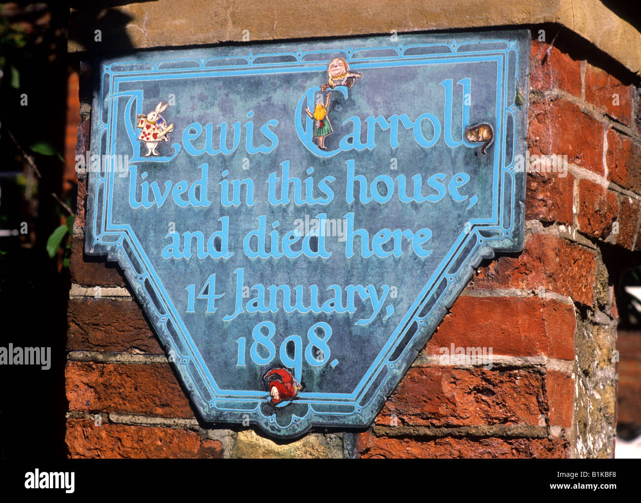 Guildford Lewis Carroll's House Plaque Alice in Wonderland English Author Carroll lived died here 1898 Surrey - Stock Image