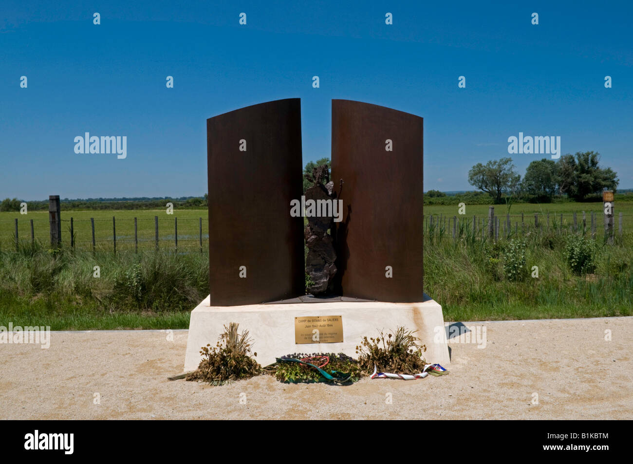 Memorial for internment camp for gipsies, Camargue, France. - Stock Image