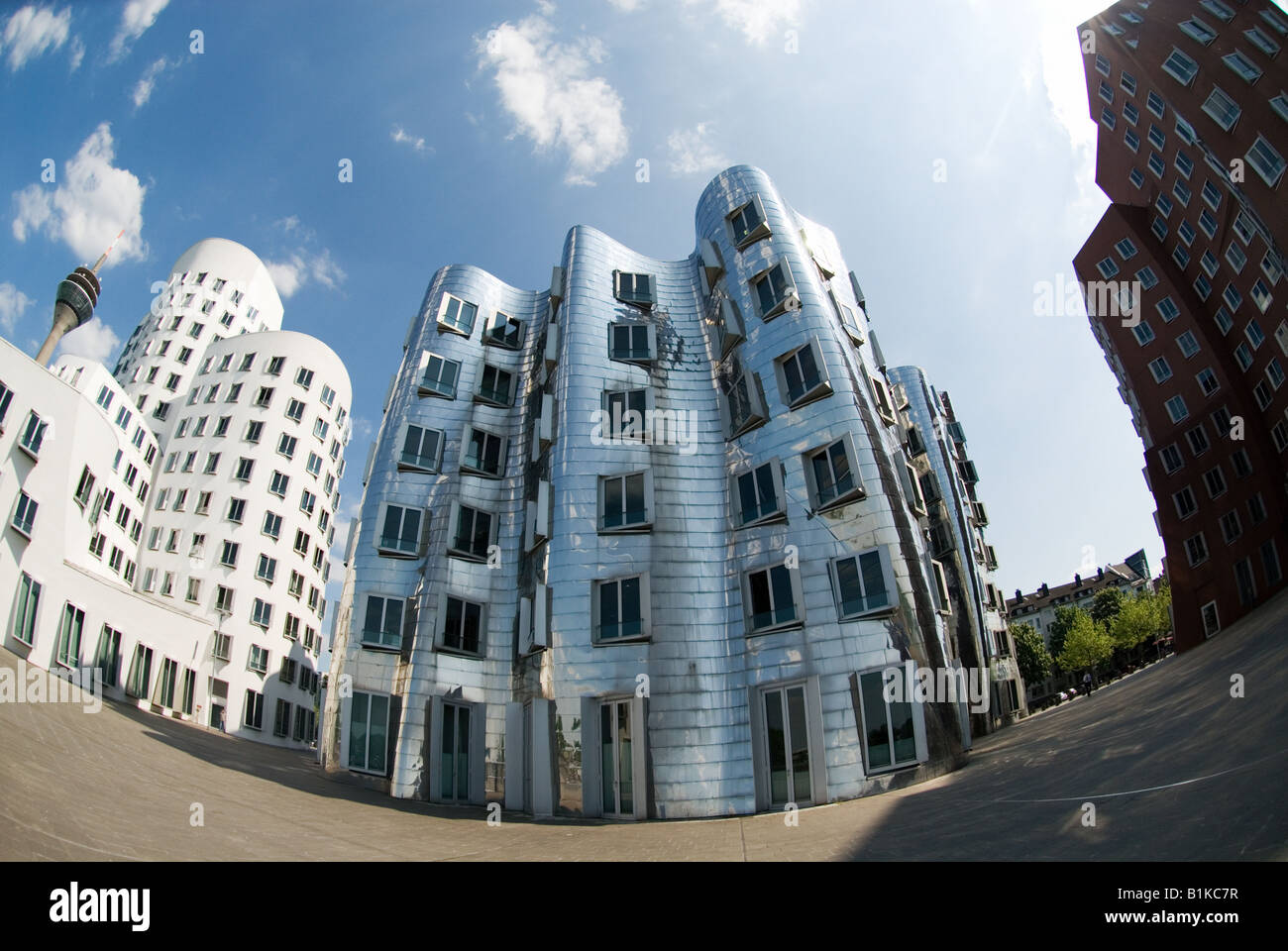 modern buildings designed by Frank Gehry in the Medienhafen of Duesseldorf Germany - Stock Image