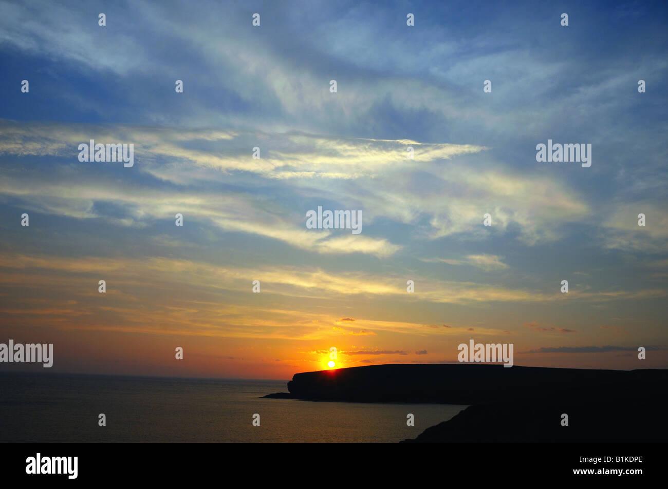 Sunset at the Atlantic coast of Ireland. County Clare, Ireland. - Stock Image