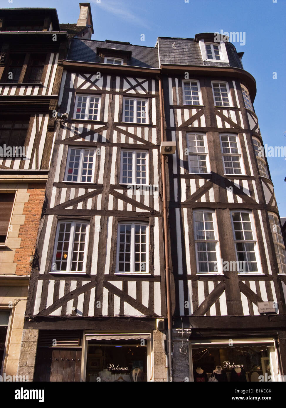 Half timbered old building in Rue Saint Romain in Rouen Normandy France EU - Stock Image