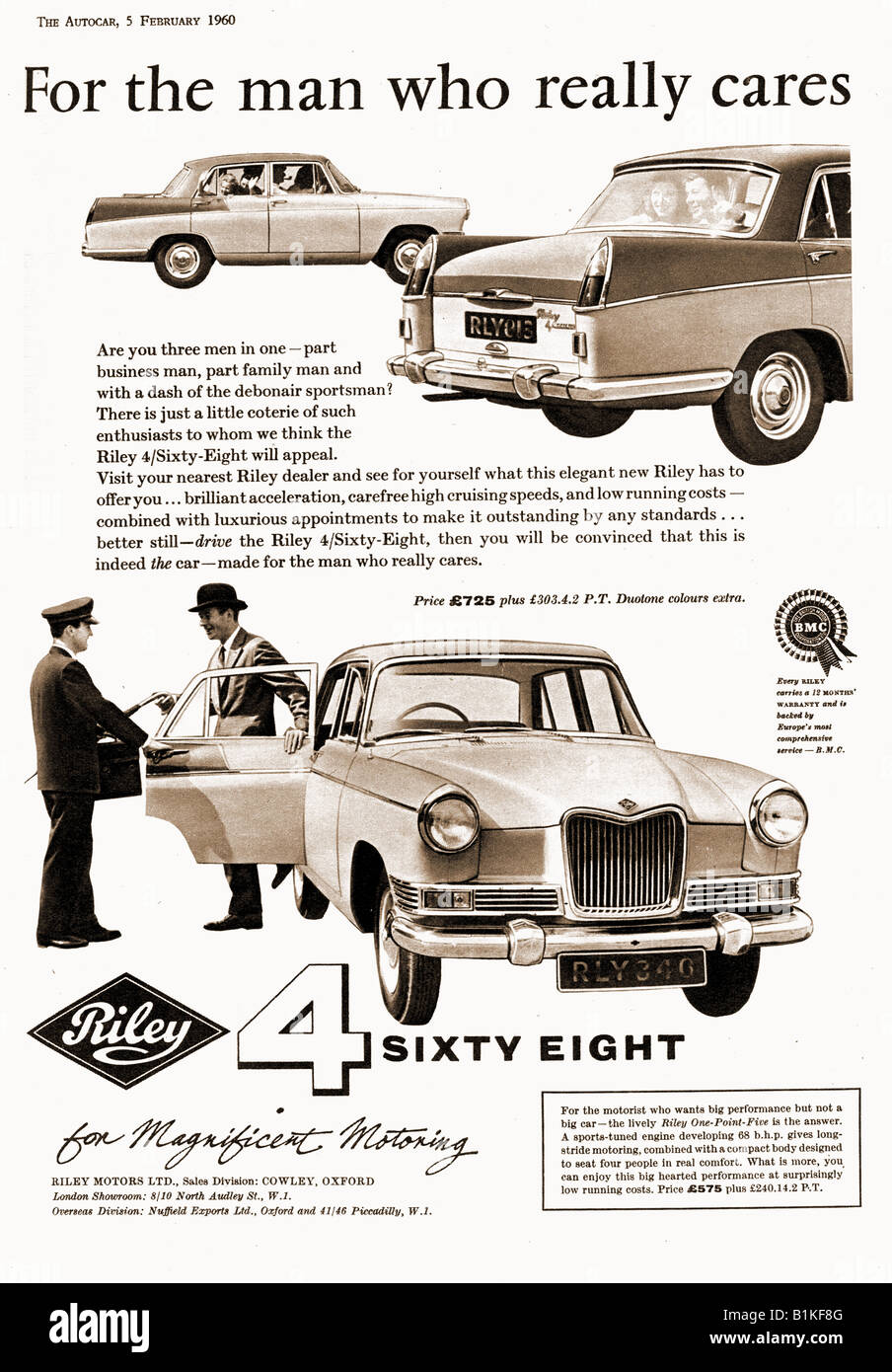 1960 advertisement for Riley 4 Sixty Eight Motor Cars 1960 FOR EDITORIAL USE ONLY - Stock Image
