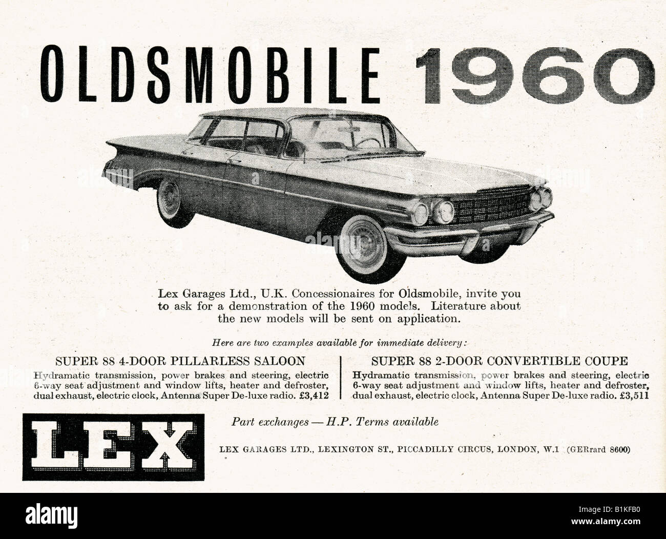 1960 advertisement for Oldsmobile American Motor Cars from Lex Garages London FOR EDITORIAL USE ONLY - Stock Image