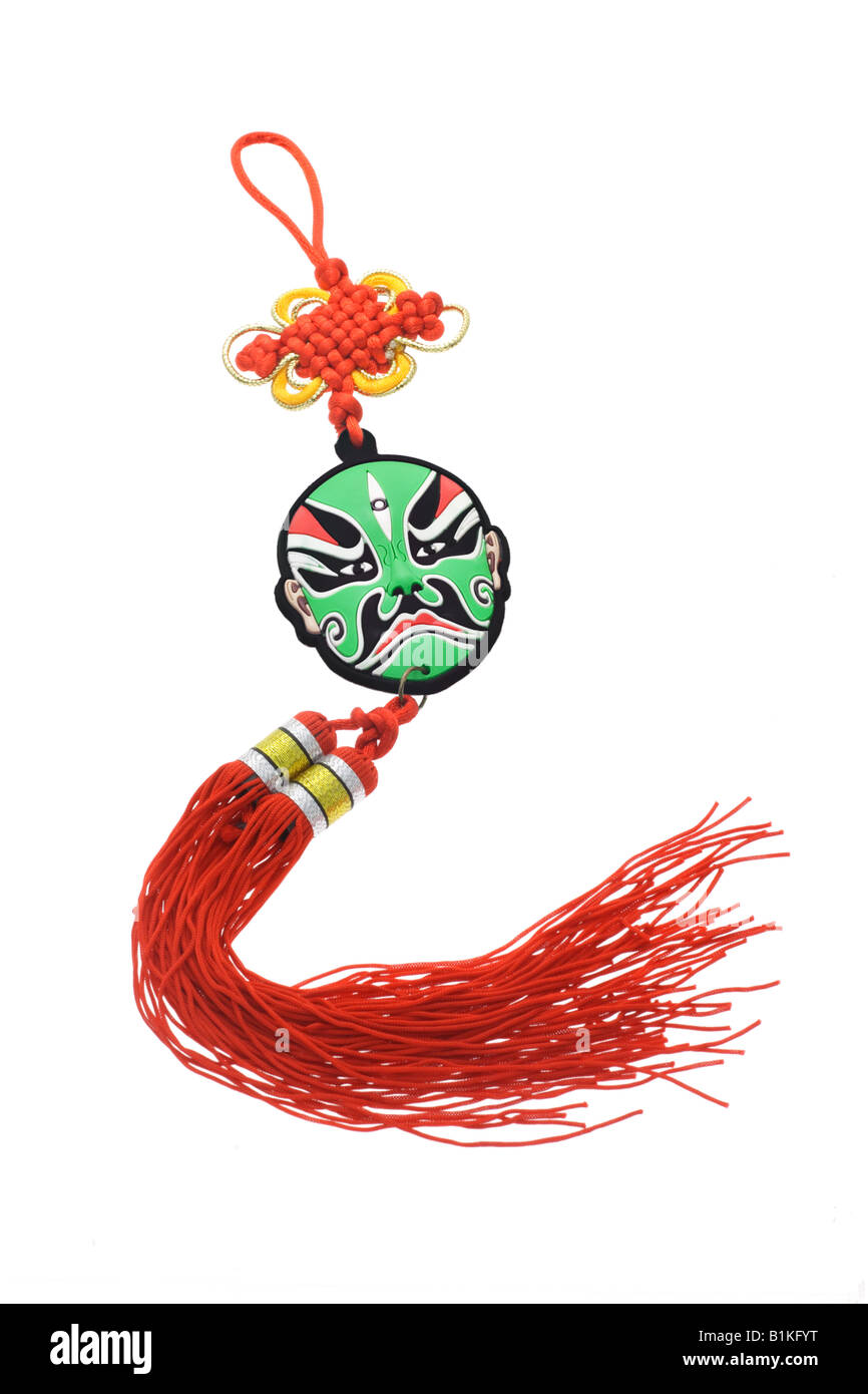 Colorful Chinese Opera Mask Ornament With Mystic Knot Isolated On