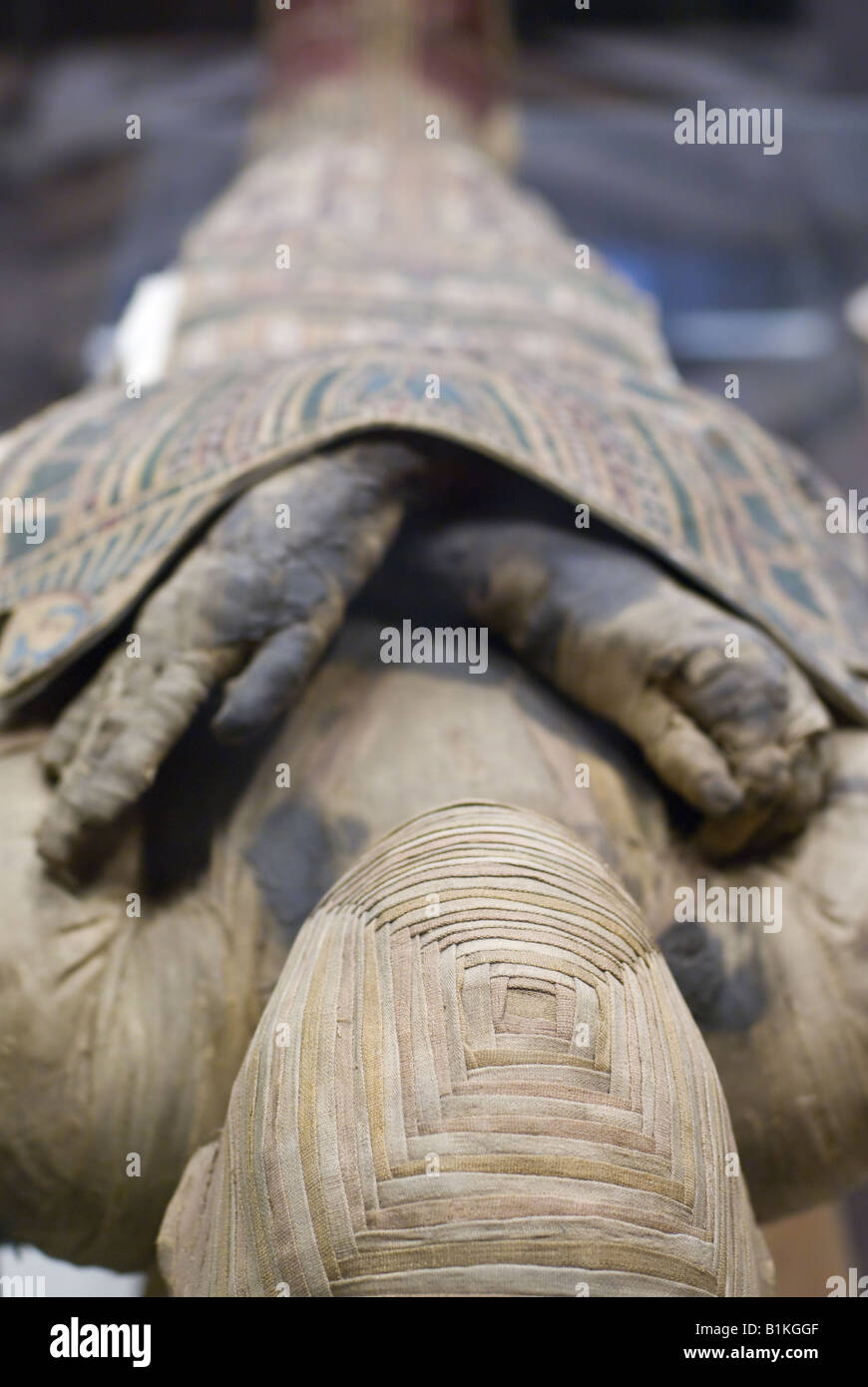 Mummy in the Louvre Museum in Paris France - Stock Image