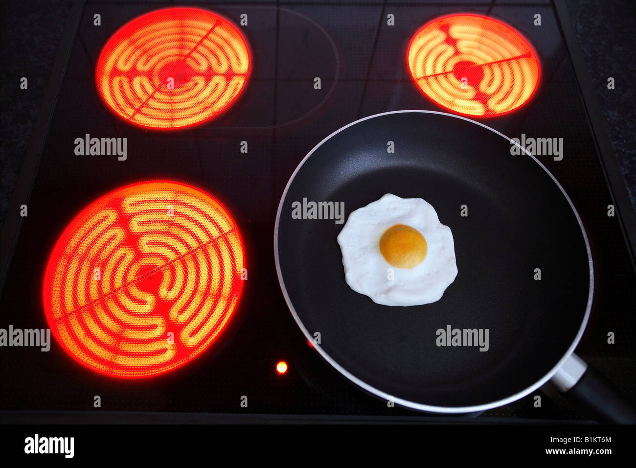 Burning hotplates of an induction cooker and a pan with fried egg - Stock Image