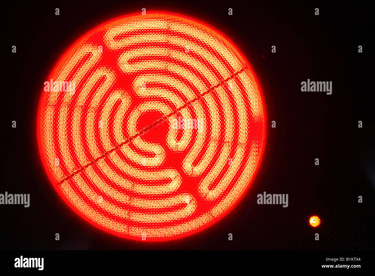 Burning hotplate of an induction cooker - Stock Image