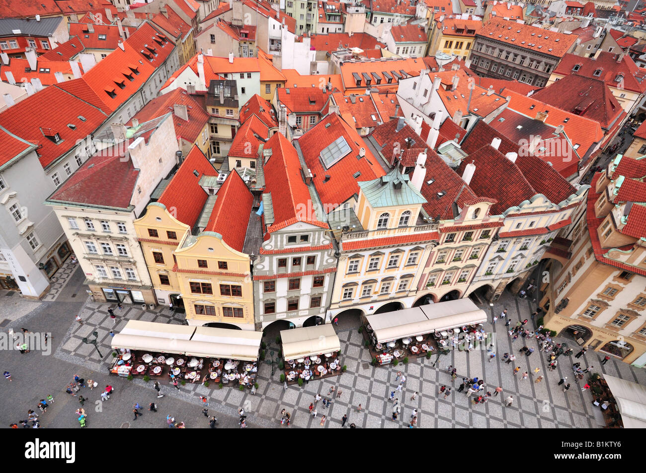 An ariel view on the Old Town square from Orloj, Prague, Czech Republic - Stock Image