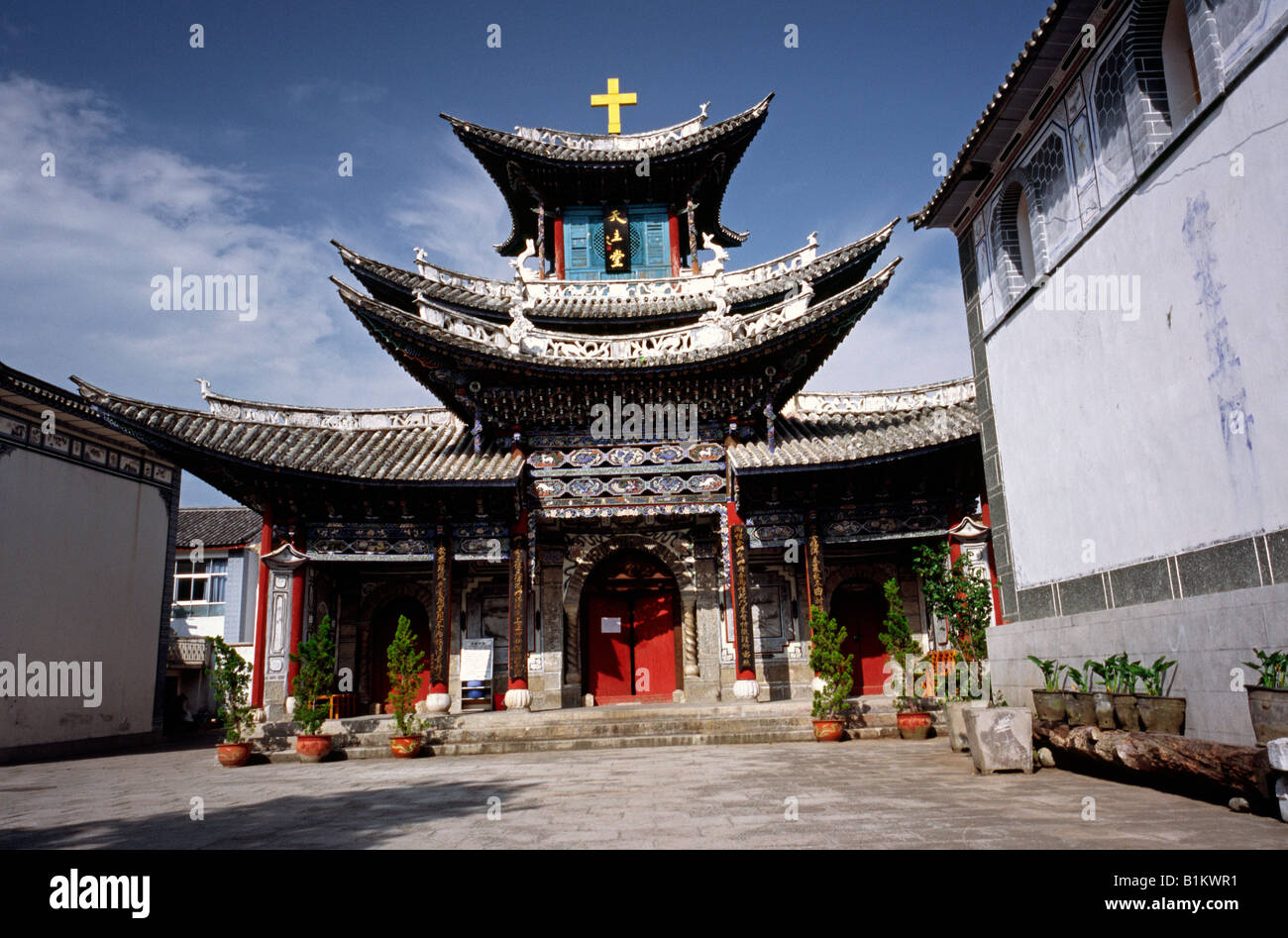 Aug 15, 2006 - Christian church built like a pagoda in Dali (Old Town) in the Chinese province of Yunnan. - Stock Image