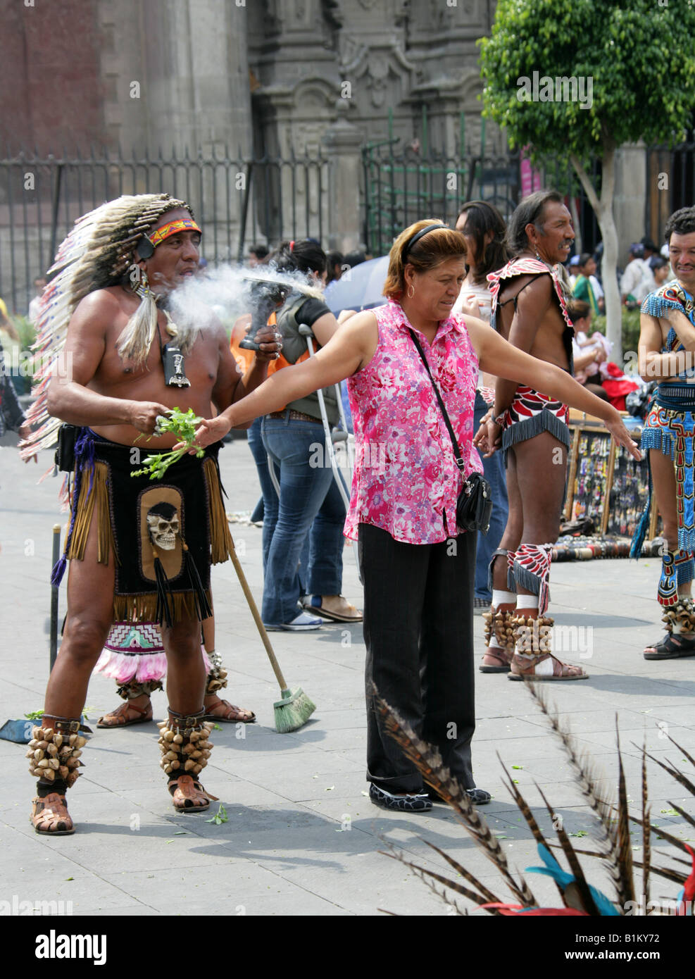 Aztec Shaman Performing Ritual Cleansing, Zocalo Square