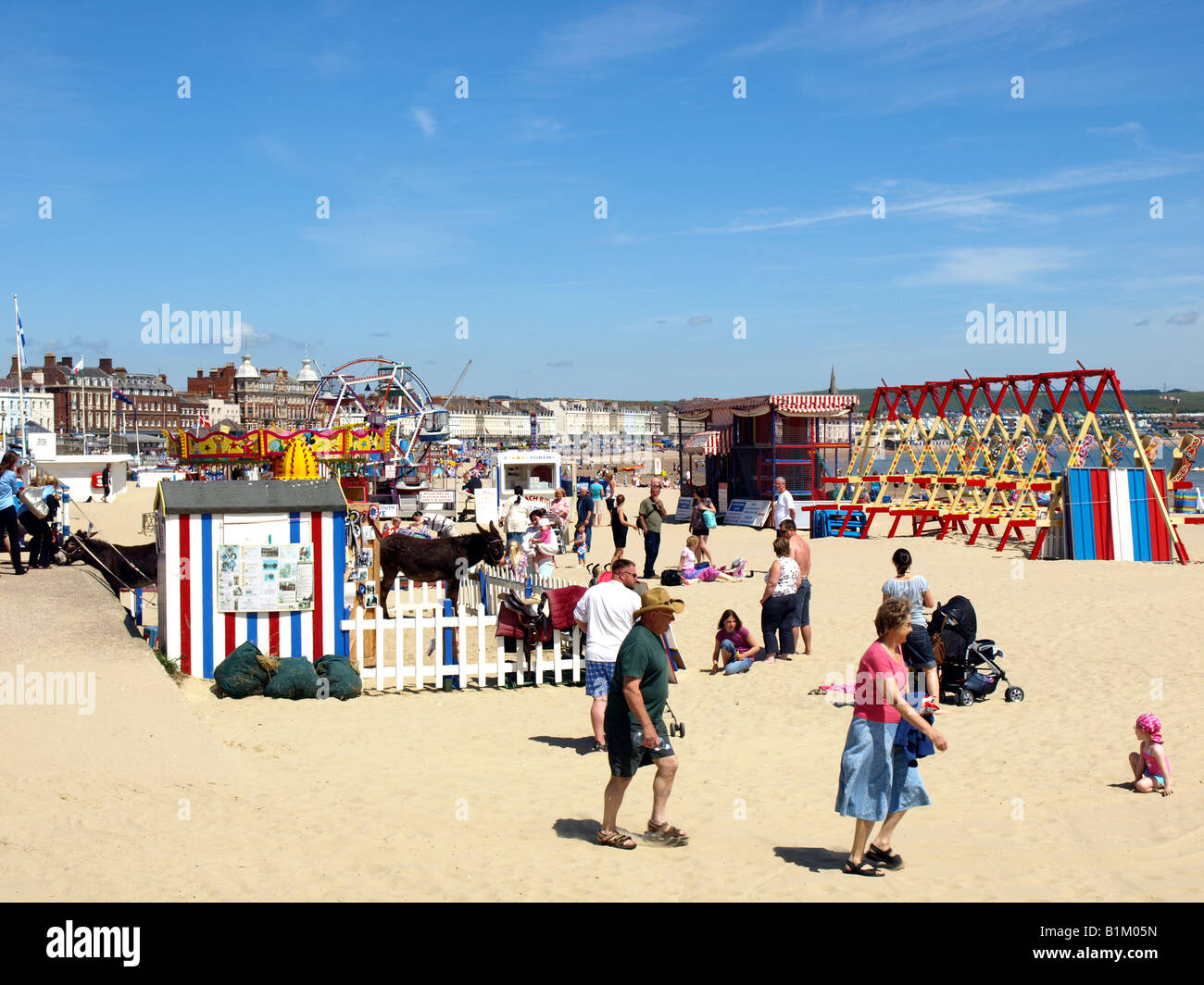 the children's entertainments on the beach at Weymouth,Dorset,UK. - Stock Image