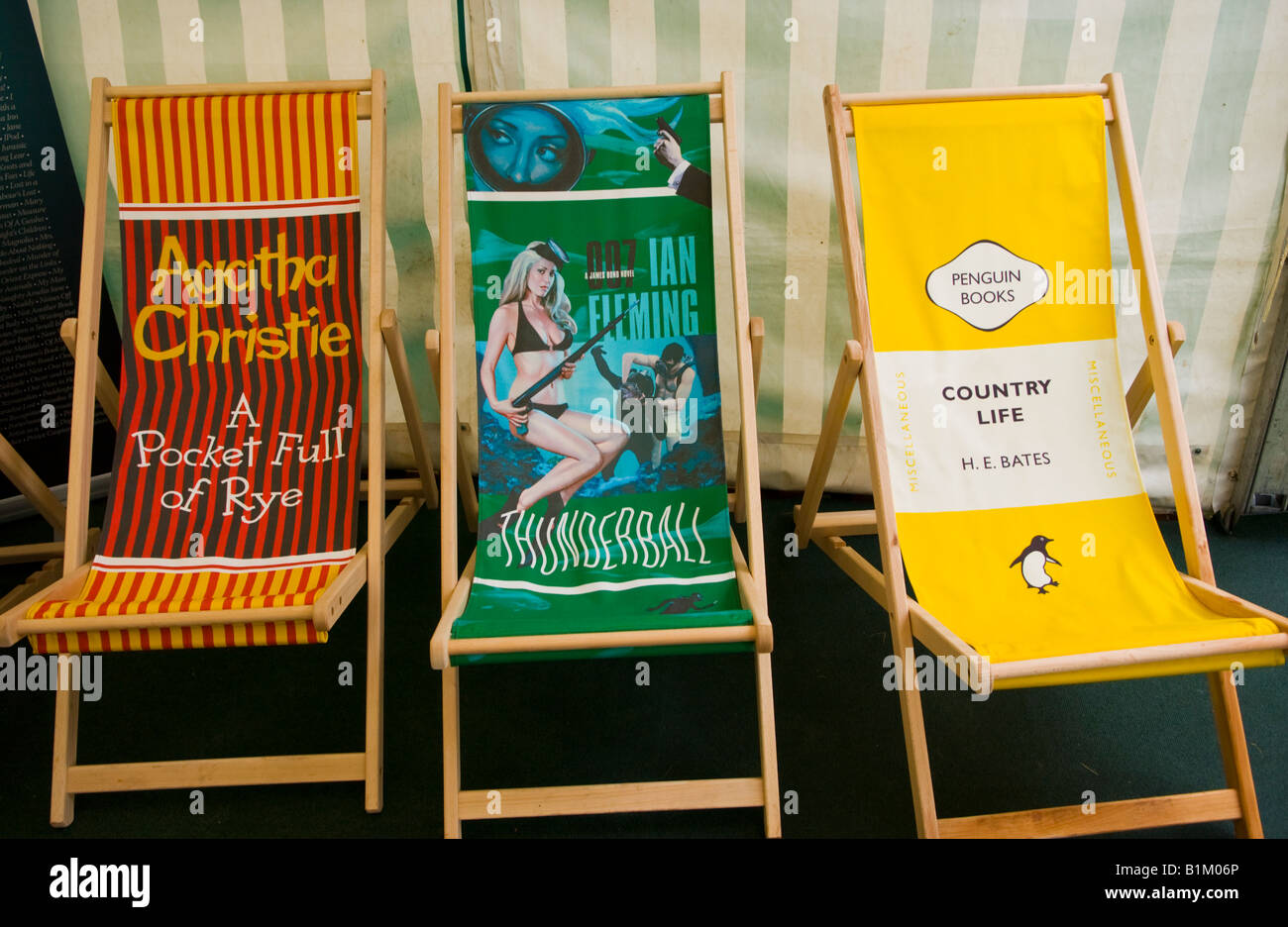 Promotional book deckchairs at The Guardian Hay Festival 2008 Hay on Wye Powys Wales UK EU - Stock Image
