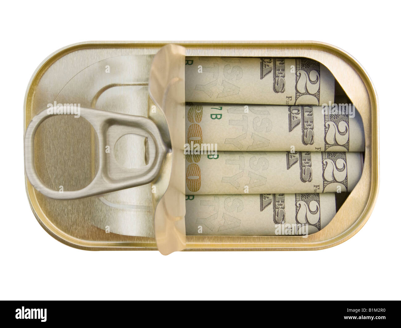 Plan view of a Ring Pull Tin containing rolled 20 Dollar notes on white background - Concept - Stock Image
