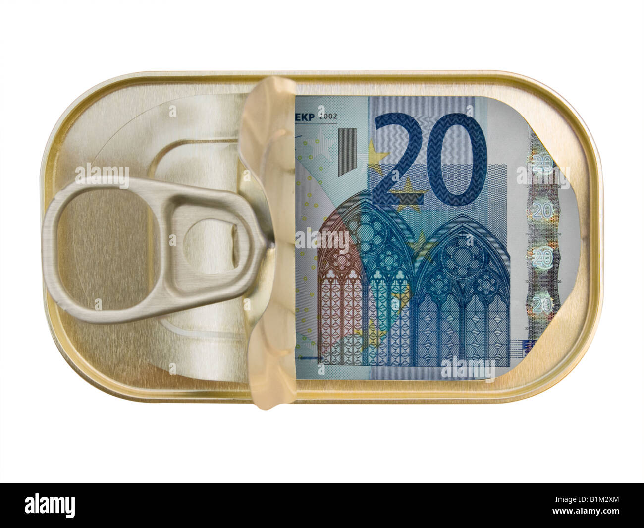 Plan view of a Ring Pull Tin containing 20 Euros on white background - Stock Image