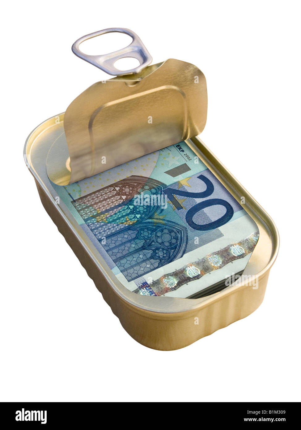 Ring Pull Tin containing 20 Euro notes on white background - Concept Stock Photo