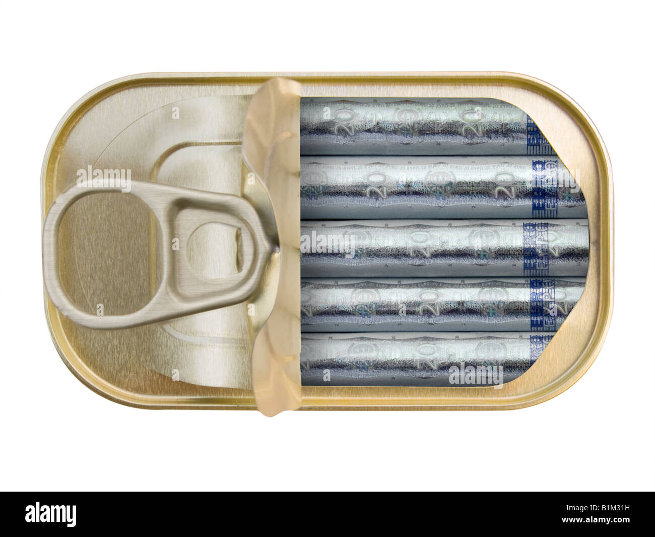 Plan view of a Ring Pull Tin containing rolled 20 Euro notes on white background - Concept - Stock Image