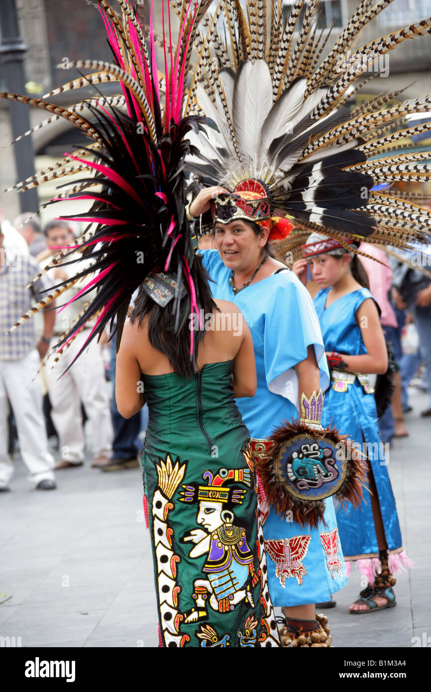 Mexican Dancers In Aztec Costume, Zocalo Square, Plaza De