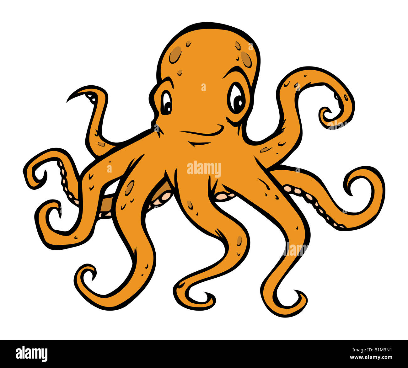 cartoon illustration of an octopus - Stock Image