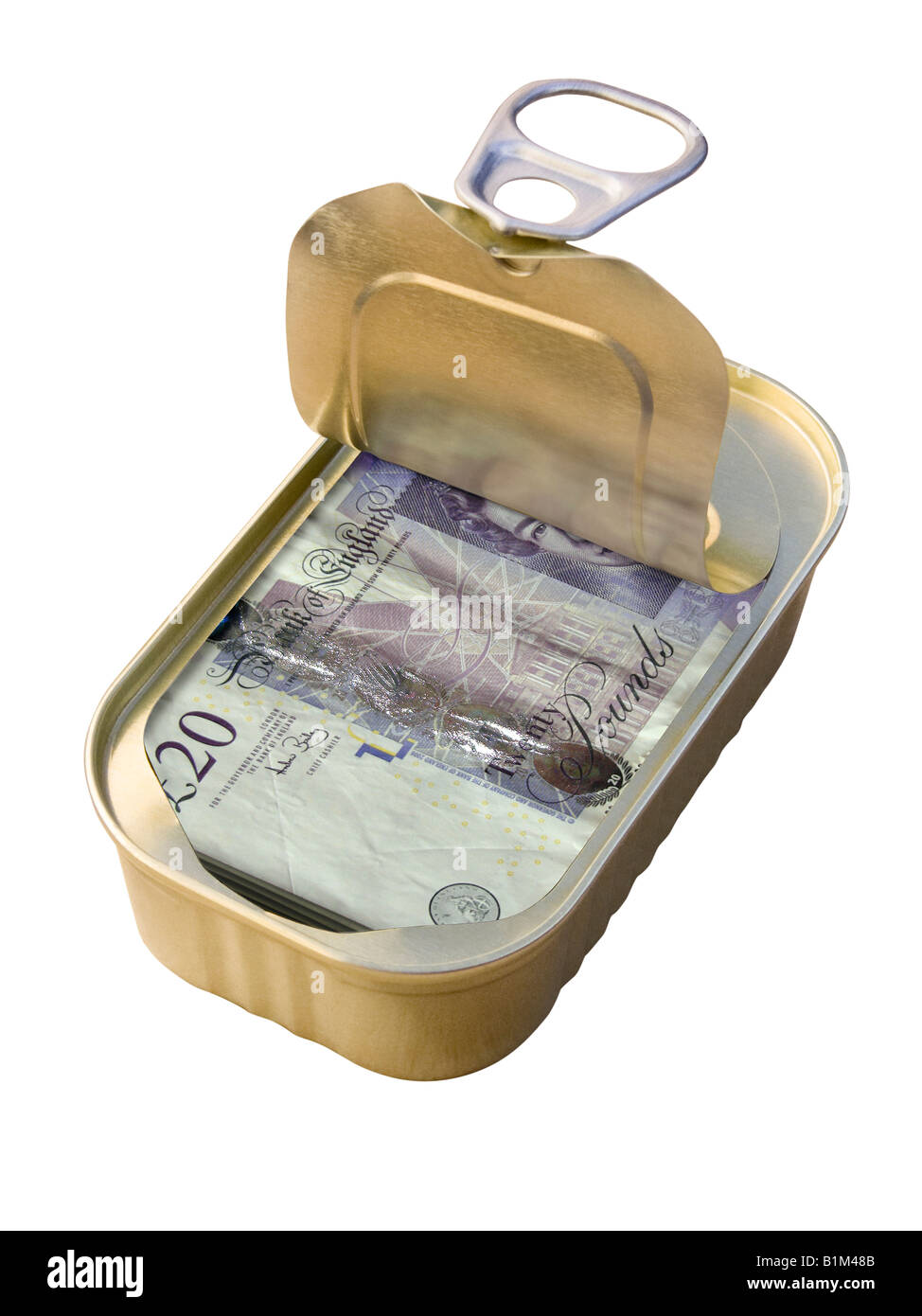 Ring Pull Tin containing £20 notes on white background - Concept - Stock Image