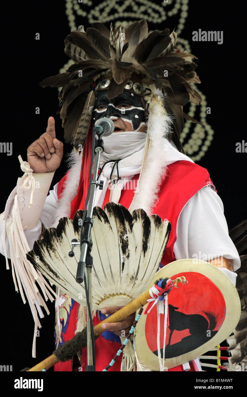 Native aboriginal chief giving speech- Victoria British Columbia Canada - Stock Image