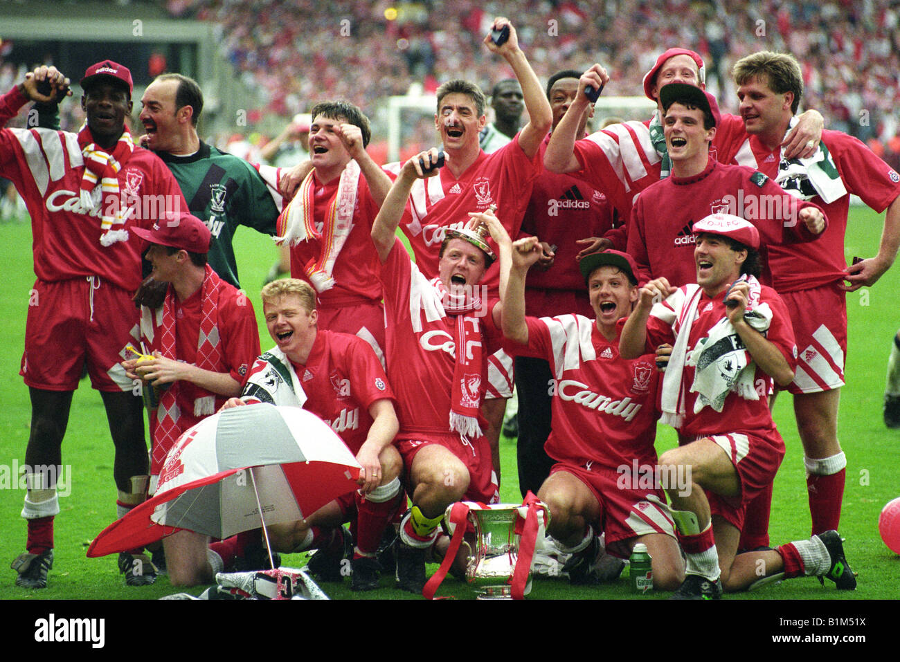 Liverpool celebrate after beating Sunderland in FA Cup Final 9 5 92 - Stock Image