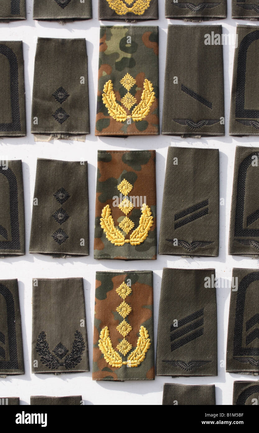 German military army uniform rank badges armed forces services - Stock Image
