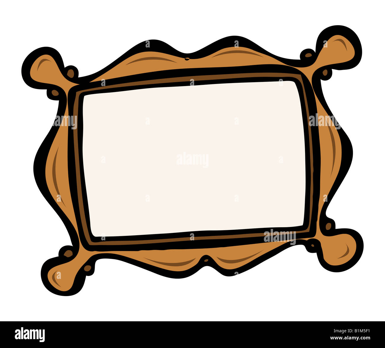 cartoon illustration of an art frame - Stock Image
