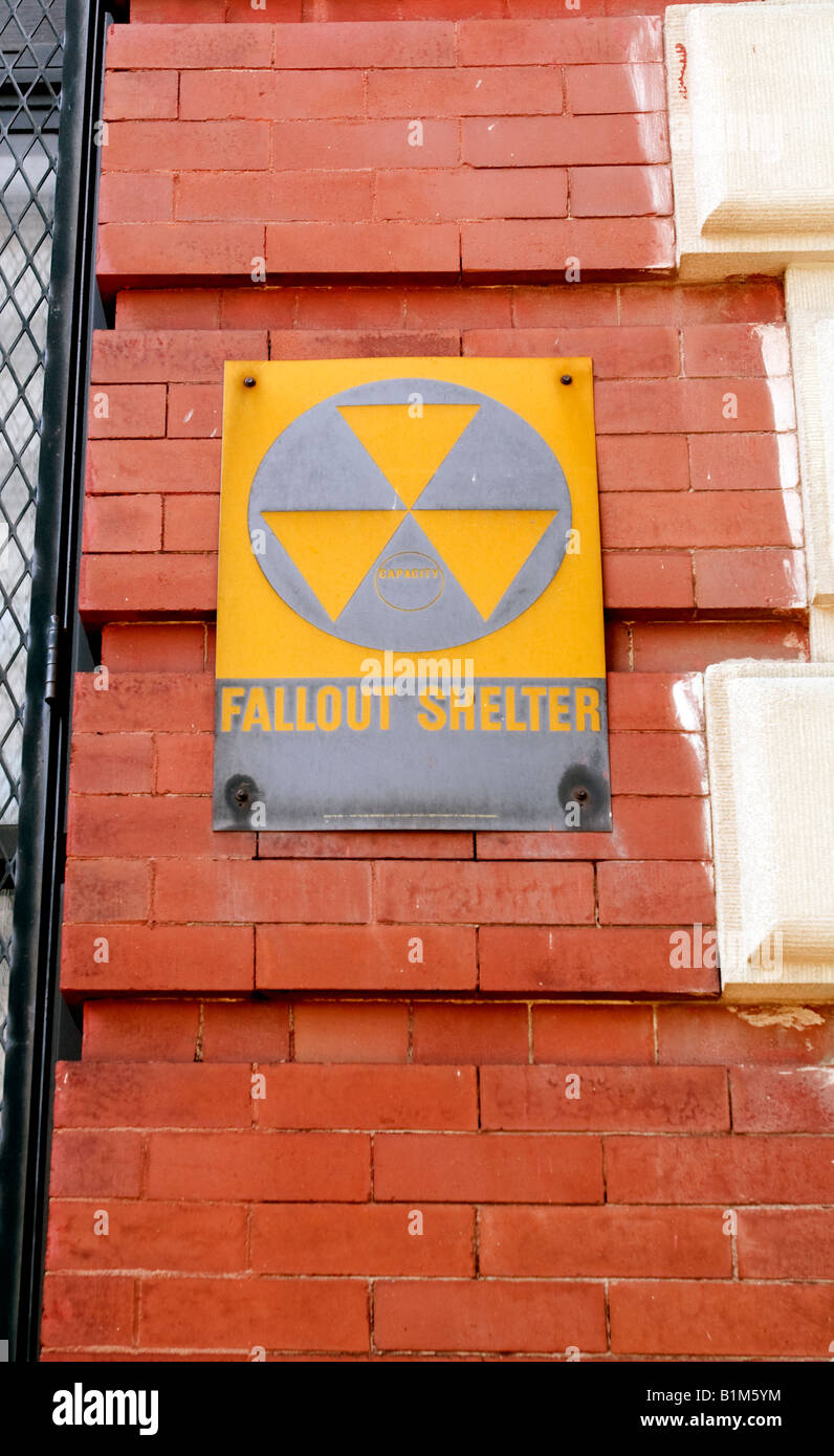 A Fallout Shelter sign circa 1963 still on the side of a building Stock Photo