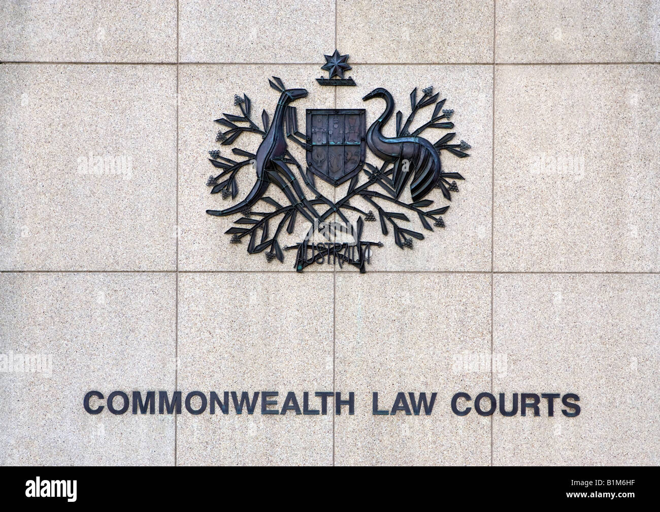 The Commonwealth Law Courts and coat of arms in Perth, Western Australia - Stock Image