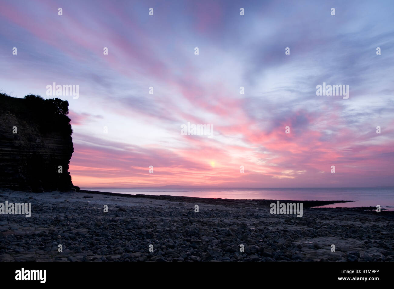 Sunrise at Lavernock Point, Penarth, near Cardiff. Stock Photo