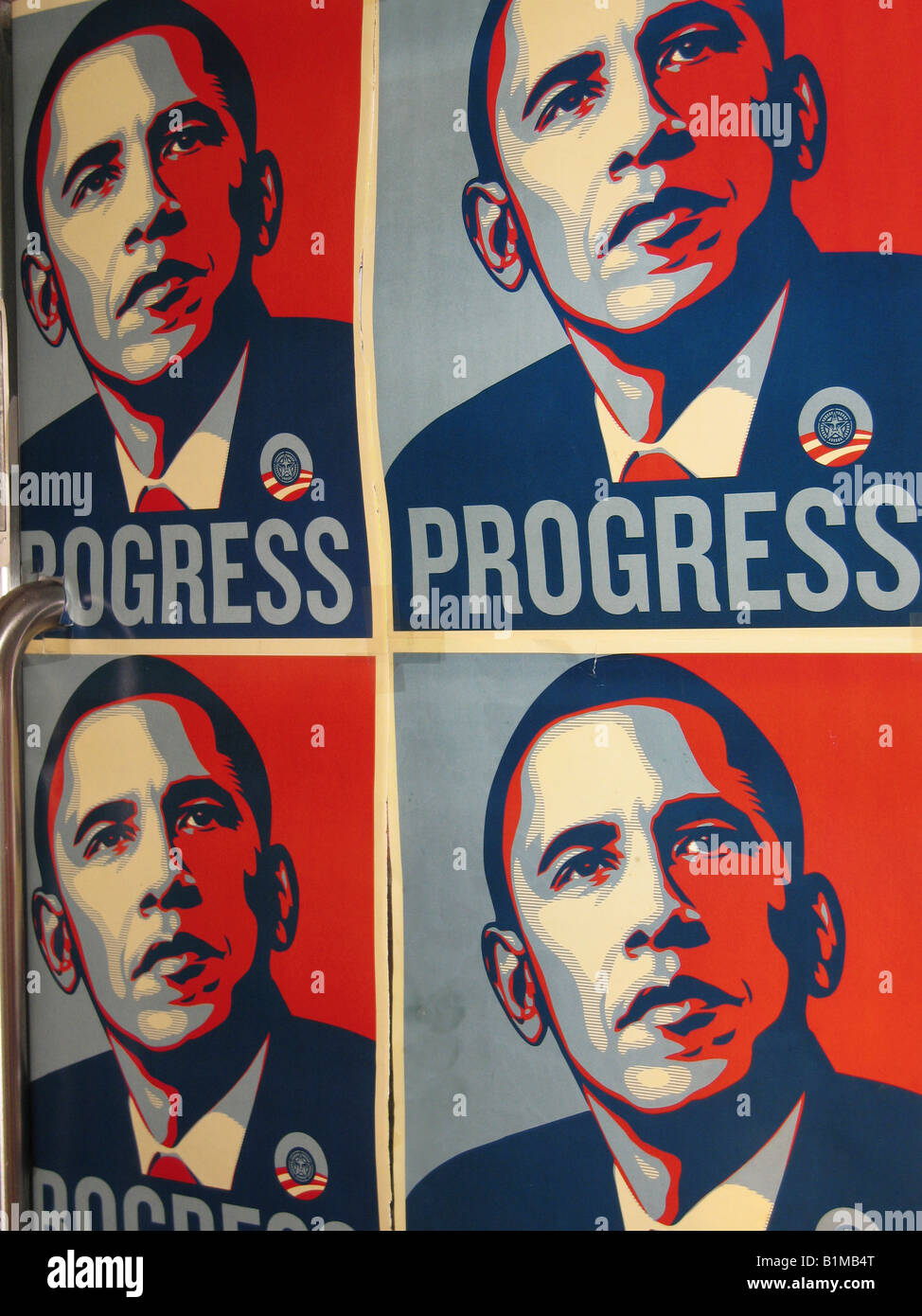 colorful graphic Barak Obama posters - Stock Image