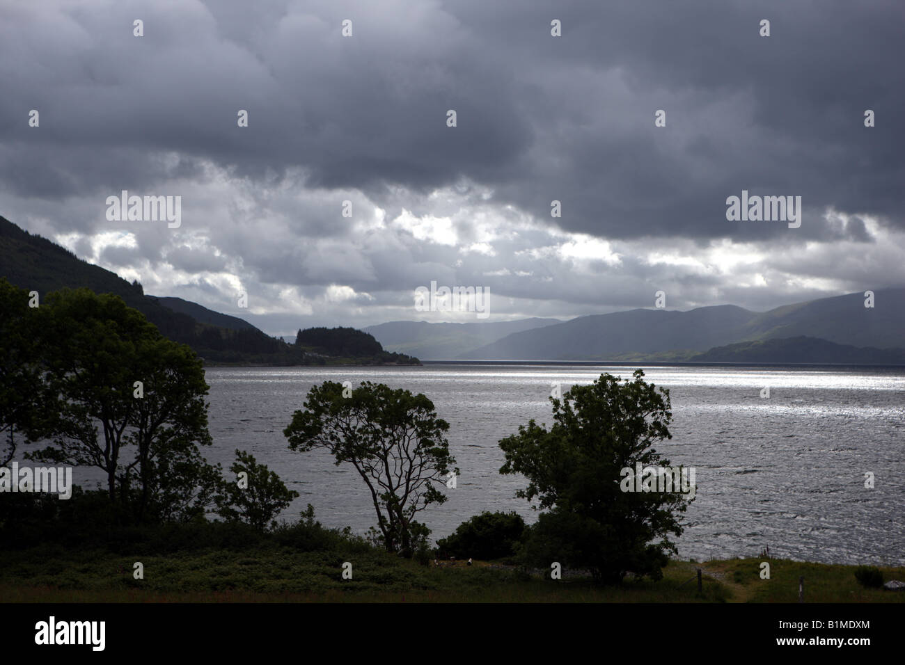 View of Loch Linnhe from North Ballachulish Lochaber Highlands Scotland Stock Photo