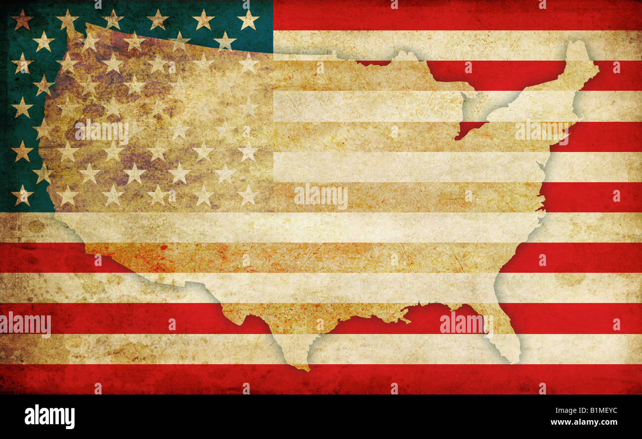 United States Of America Flag And Usa Map Contour In Old Fashioned - American-flag-us-map