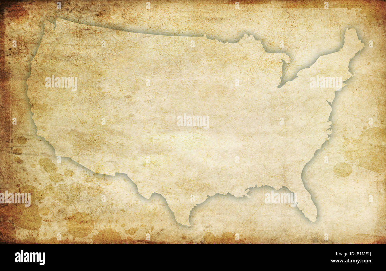 USA map contour. Rusted and grungy, old stylized background Stock