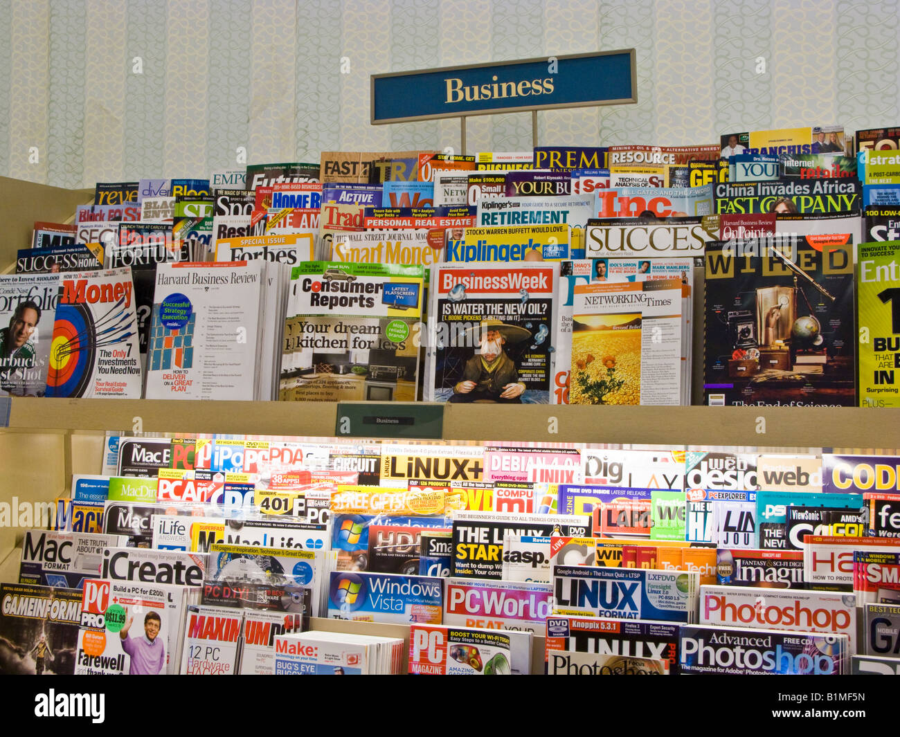 Barnes and Noble magazine and periodical rack - Stock Image