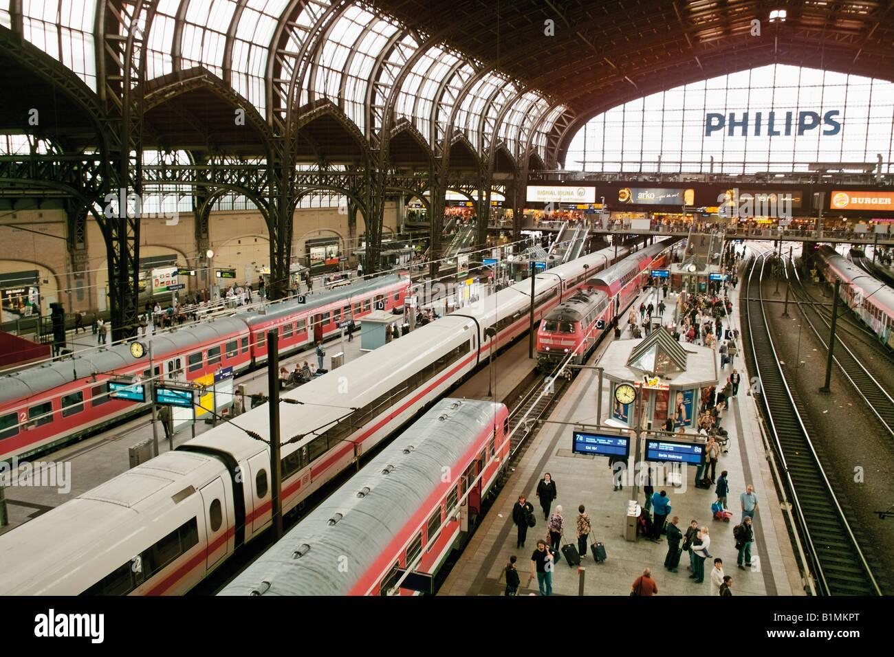 Railway main station Hamburg Germany - Stock Image