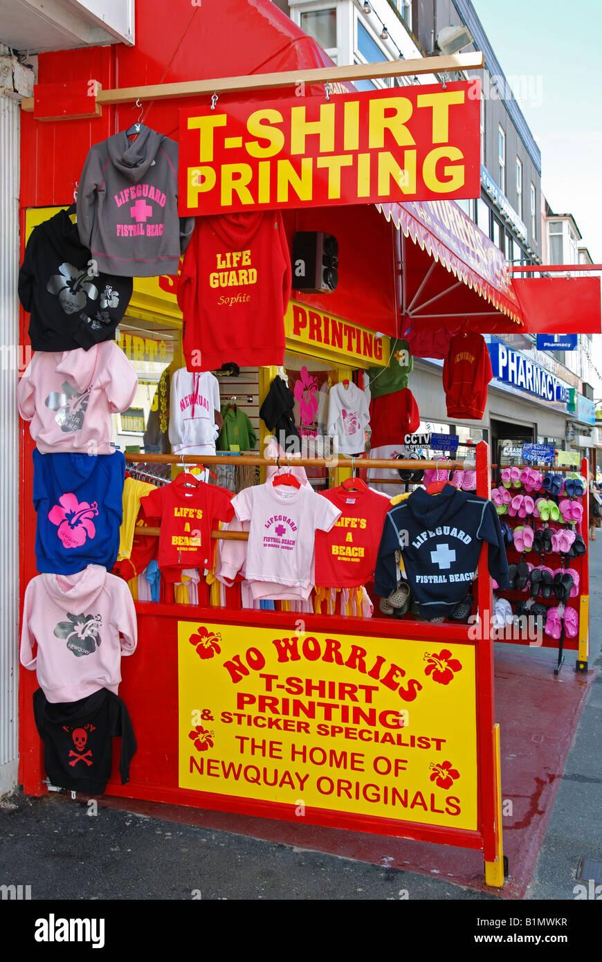 a t-shirt printing shop at newquay in cornwall,england Stock Photo