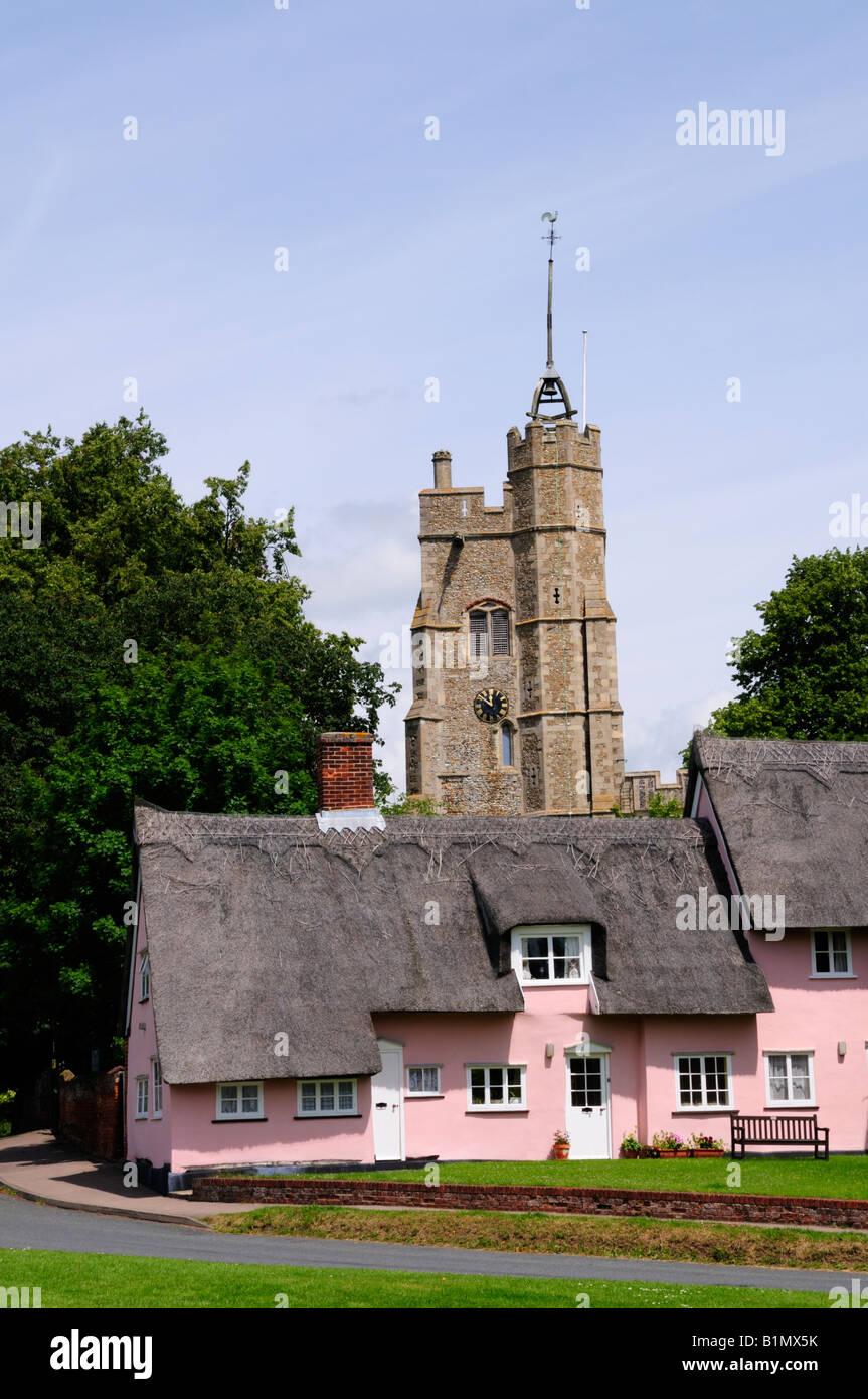 Cottages at Cavendish Suffolk England UK - Stock Image