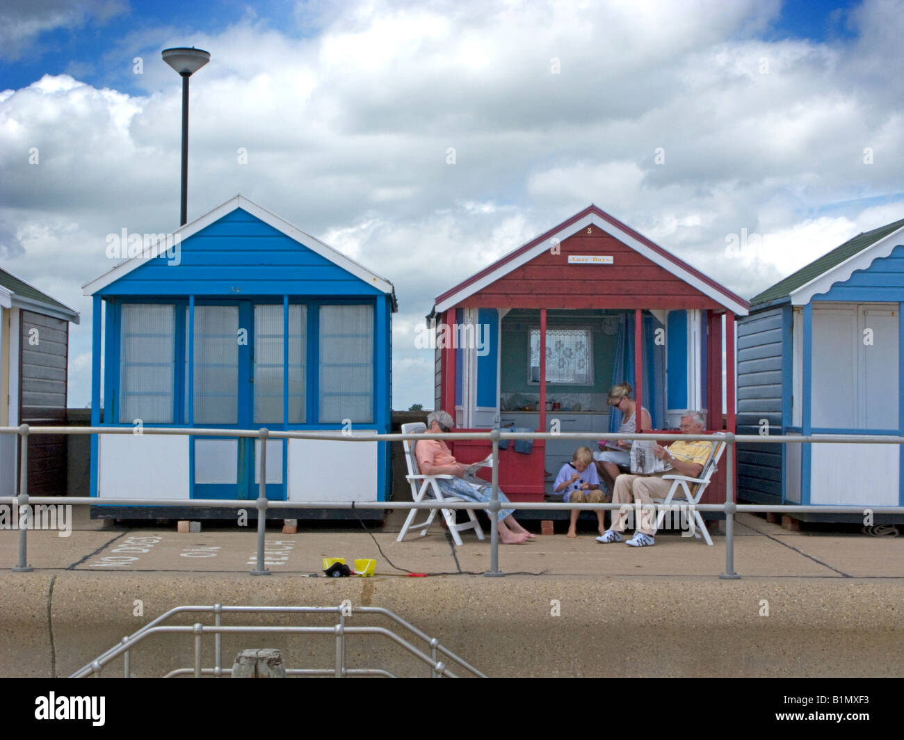 Lazy days beach hut at Southwold, Suffolk - Stock Image