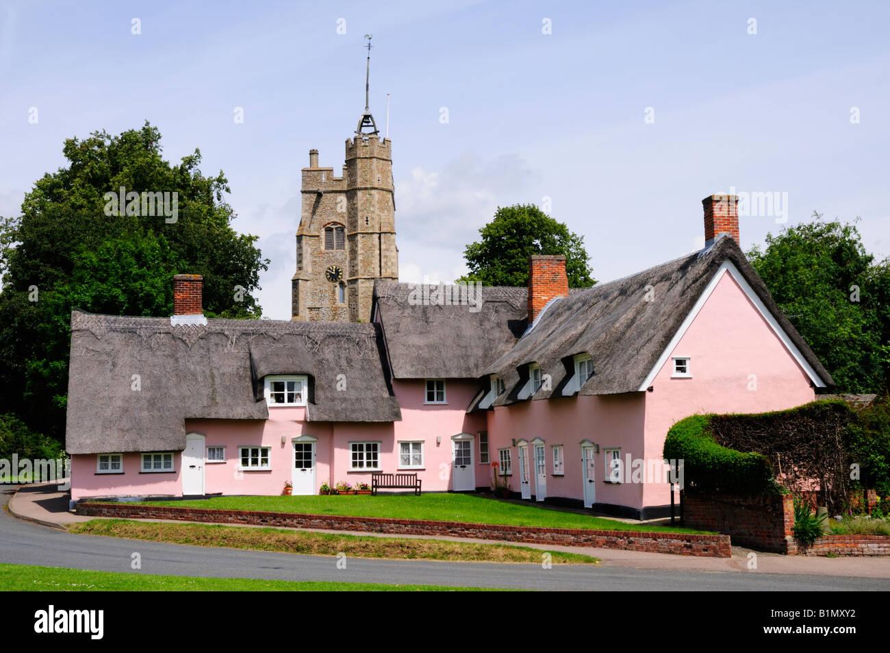 Cottages at Cavendish, Suffolk England UK - Stock Image