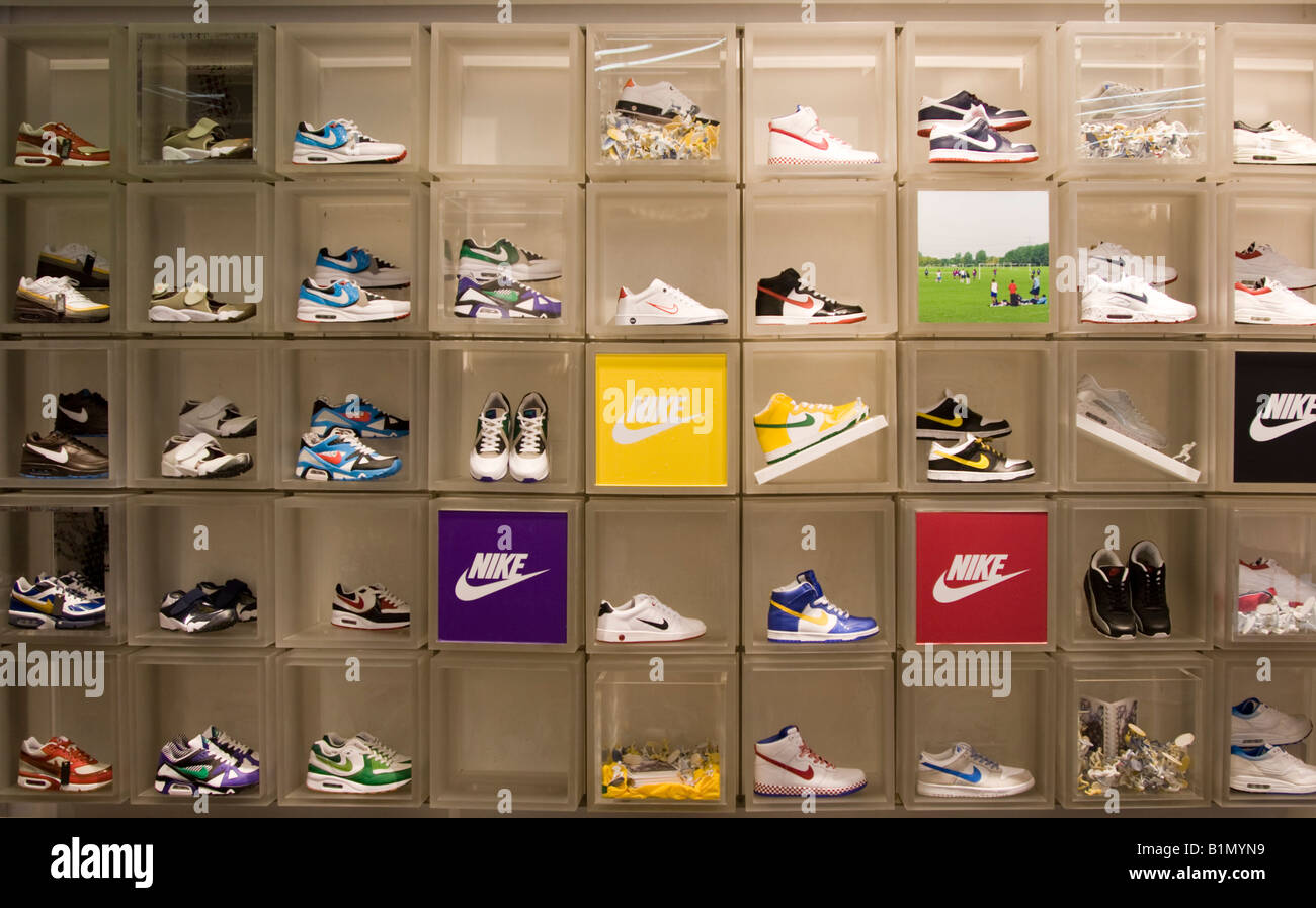 f3501ea72149 Trainers Niketown store Oxford Street London - Stock Image